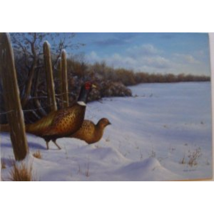 Pheasants in Winter Snows