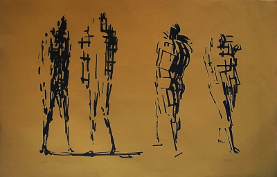 Oliffe Richmond Four Standing Figures 58 x 91cm 1966 edited