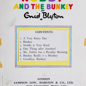 Noddy And The Bunkey - Contents Page